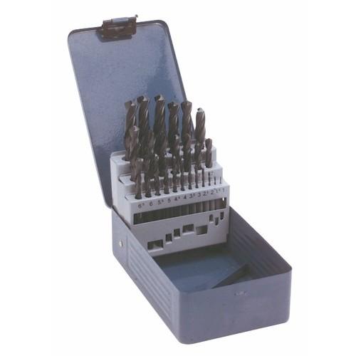 Coffret de 25 forets laminés G25 pour perçage des aciers, 1 à 13 mm