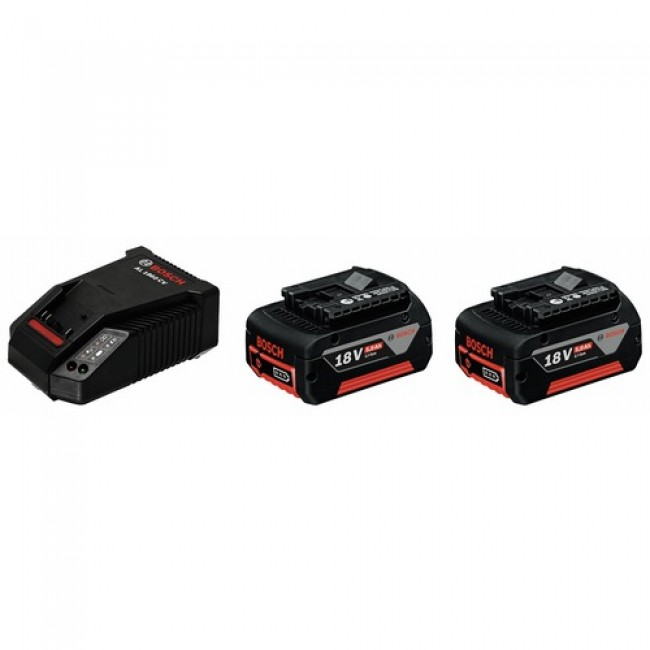 Pack 2 batteries lithium-ion 18 V 5 Ah + chargeur BOSCH