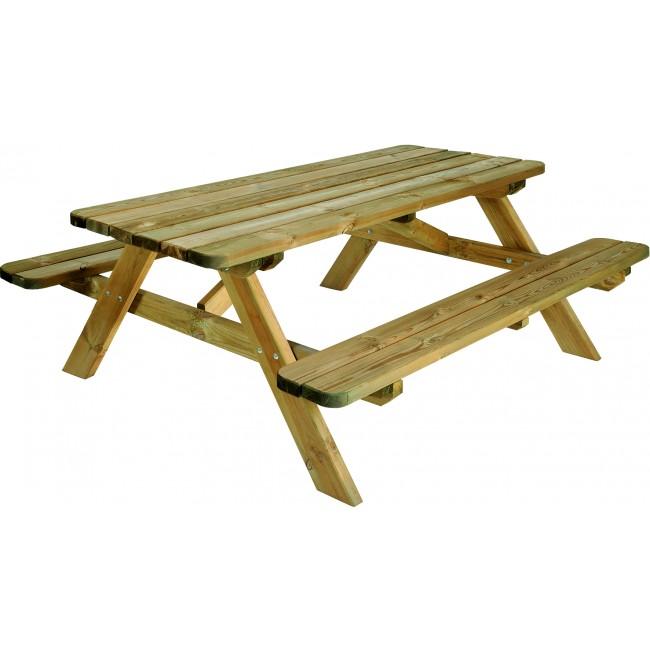 Table pique nique en bois - longueur 180 cm - Robuste JARDIPOLYS