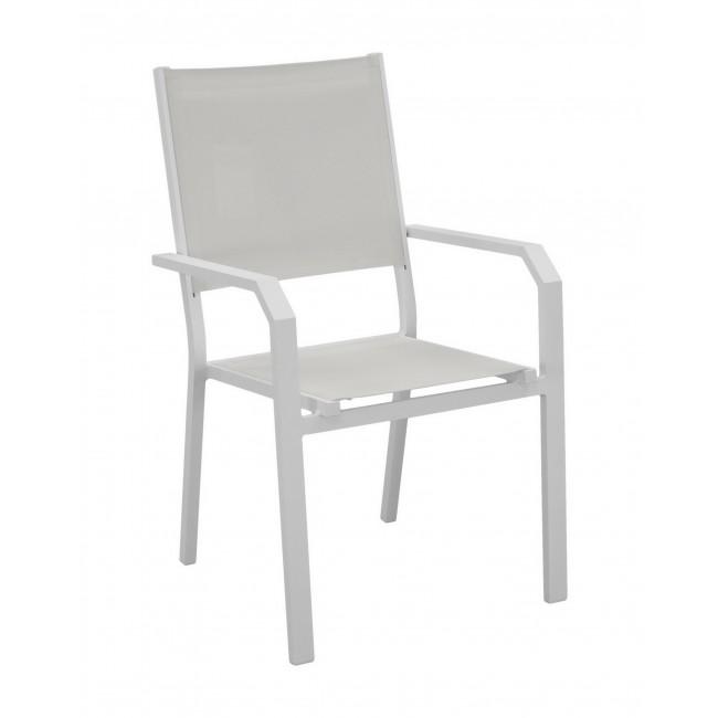 Lot de 2 fauteuils aluminium - assise textilène blanc - Gemona INDOOR OUTDOOR