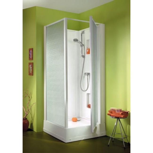 Cabine de douche 90x90 cm - accès par porte pivotante  - Izibox LEDA