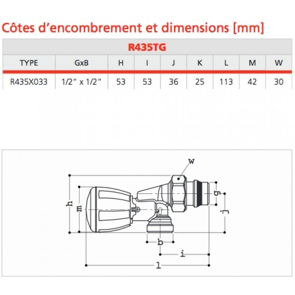 Corps De Robinet Thermostatique Equerre Inversee R435tg Filetage