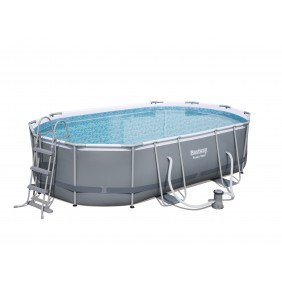 Piscine tubulaire ovale - 549x274x122cm - Power Steel Frame Pools BESTWAY