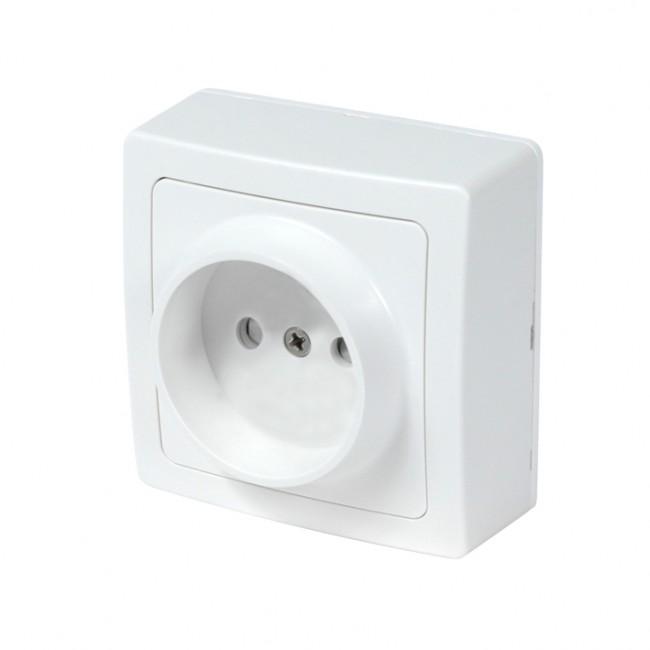 Prise de courant 2 pôles saillie complète - blanc - Blok DEBFLEX
