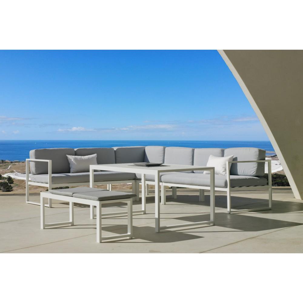 Salon de jardin aluminium blanc - coussins gris clair - Anaele 9 INDOOR  OUTDOOR sur Bricozor