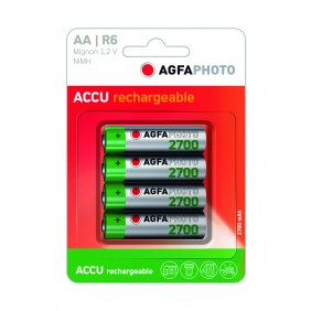 Blister 4 piles alcalines rechargeables AA/R6 NiMH 1.2V AGFA