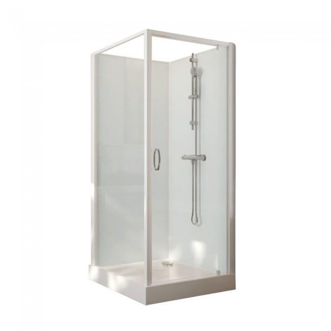 Cabine de douche carrée - porte pivotante - verre transparent - Iziglass 2 LEDA