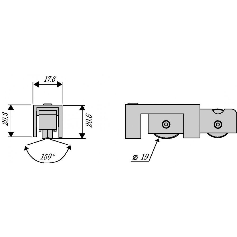 Chariot double non r glable pour coulissant en aluminium type 3621 la crois e ds bricozor - Chariot pour porte de garage coulissante ...