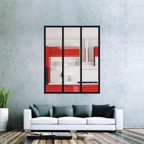 Kit verrière intérieur avec vitrage - 3 panneaux - 125x102 cm Design Production