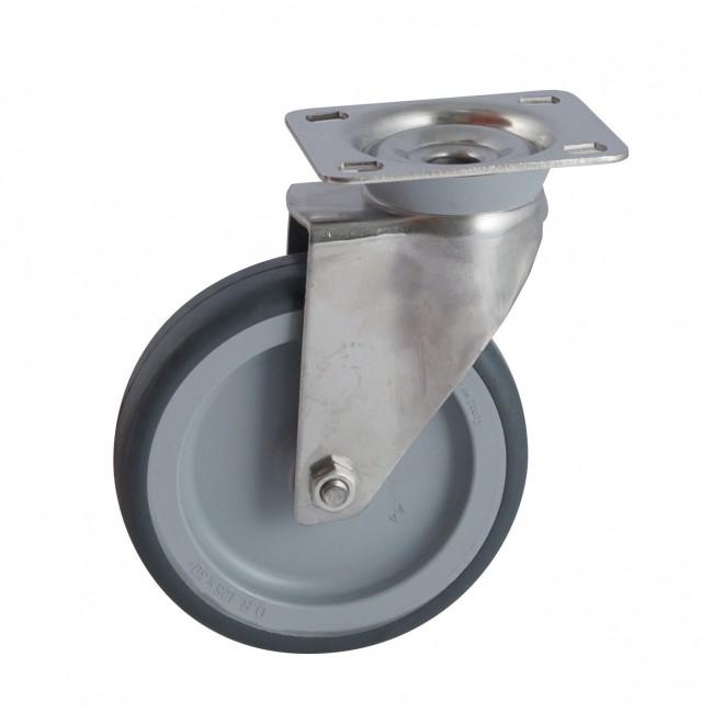 Roulette à platine inox pivotante - bandage santoprène gris AVL