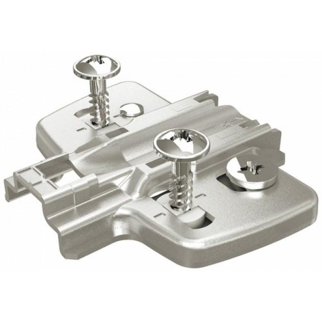 Embases pour ferrure d'angle et montant central - avec vis prémontées HETTICH