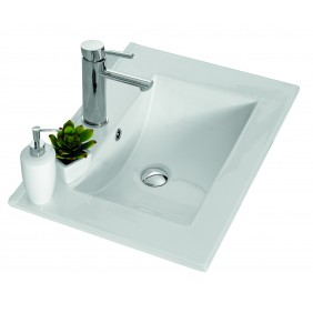Plan vasque céramique blanc - deux dimensions - Angelo Néova