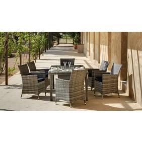 Table de jardin Maracaibo 150 cm et 6 fauteuils avec coussins gris INDOOR OUTDOOR