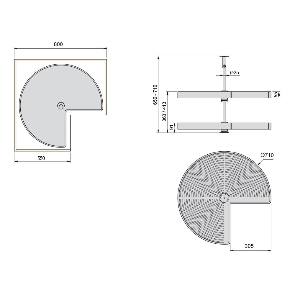 Emuca Jeu de Plateaux Shelvo 1//2 Lune pour Module 800 mm en Plastique Blanc