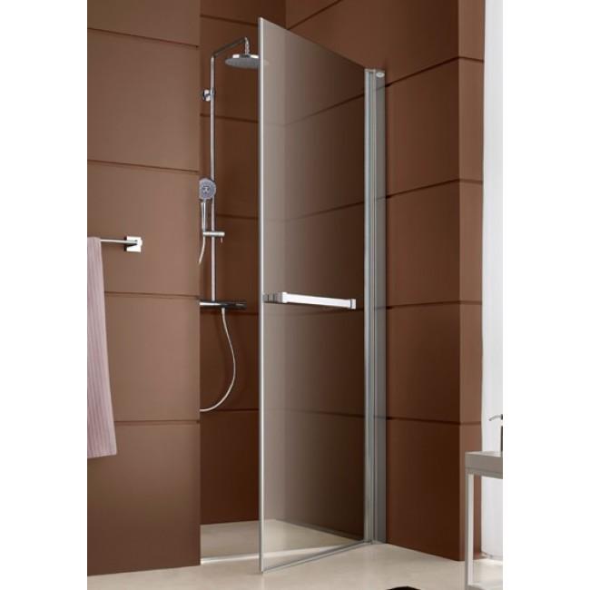 Paroi de douche fermée pivotante - ouverture totale  - profilé argent brillant Django LEDA