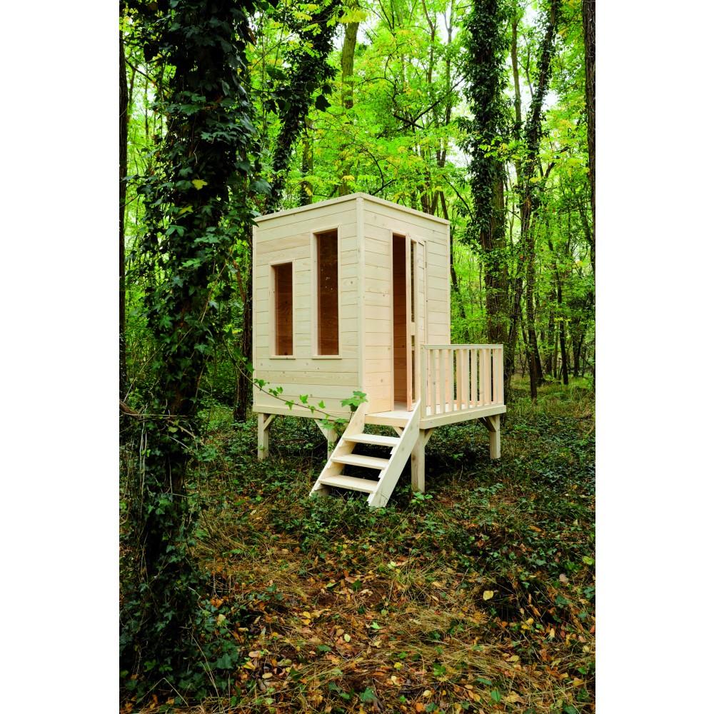 Maisonnette enfant en bois cam l on sur pilotis 2 2 m jardipolys bricozor for Maisonnette en bois sur pilotis