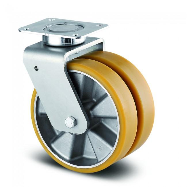 Roulette double pivotante - acier embouti - charge lourde - Delta Twin TENTE