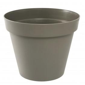 Pot rond taupe - diamètre 60 cm  - 76 litres - Toscane 13614 EDA PLASTIQUES