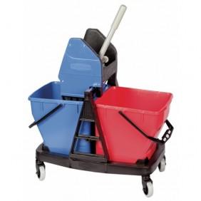 Chariot de ménage - avec presse - 2 x 18 litres - robuste - Sani Duo RUBBERMAID