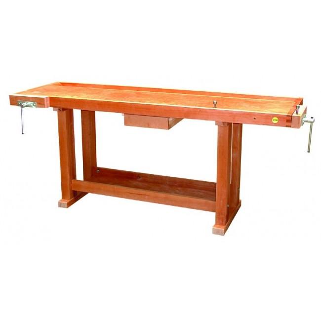 Établi bois - menuisier - 2 m - à rayon - 1 tiroir - 2 presses OUTIFRANCE