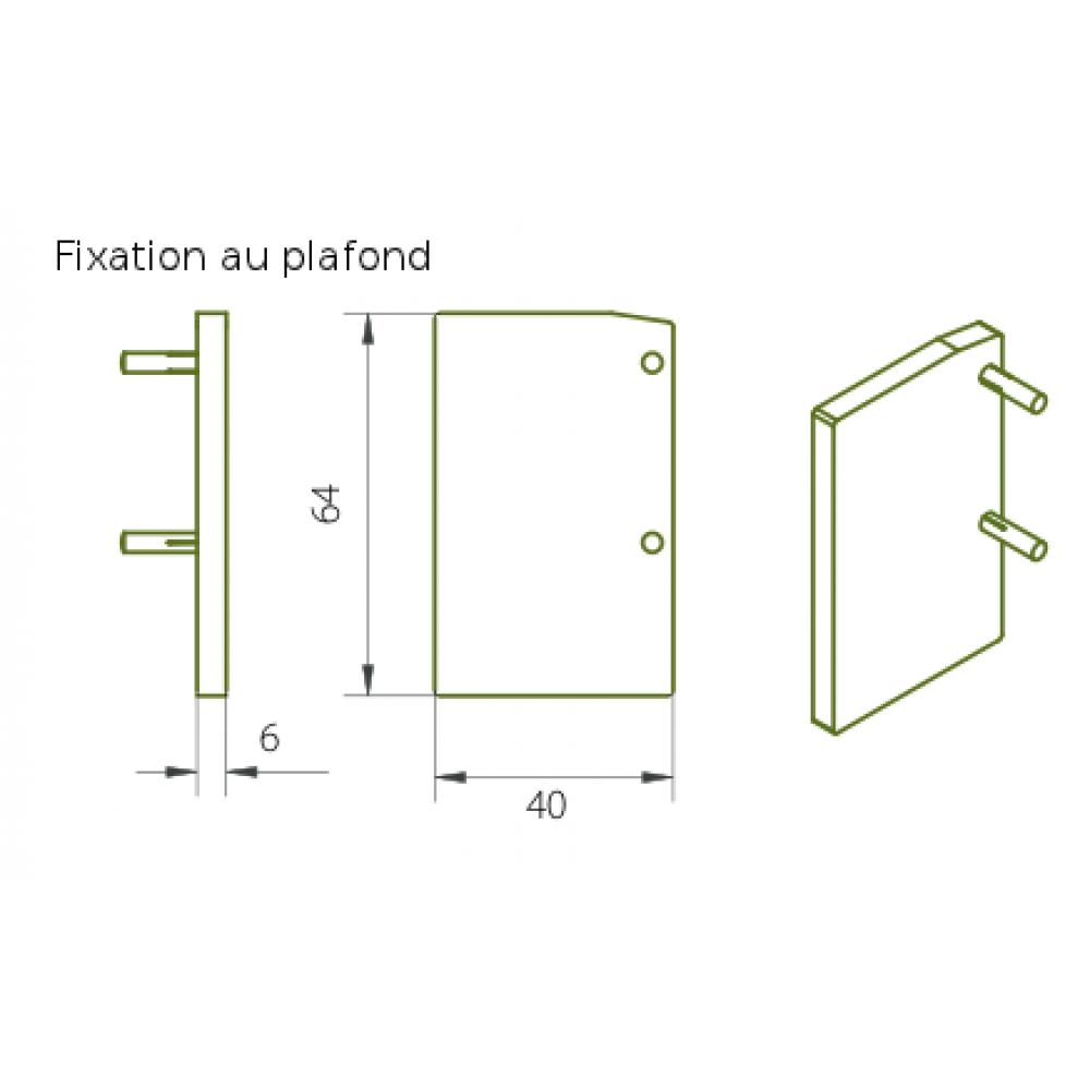 Embout pour rail expert 40 80 fixation plafond rob for Porte coulissante fixation plafond