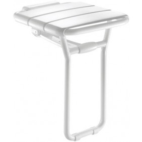 Siège de douche relevable alu finition blanc assise 360x407 mm DELABIE