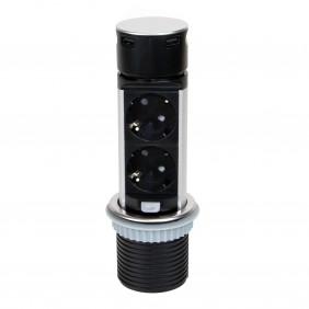 Multiprises à encastrer - rétractable - 4 prises - Vertikal Push 60 EMUCA