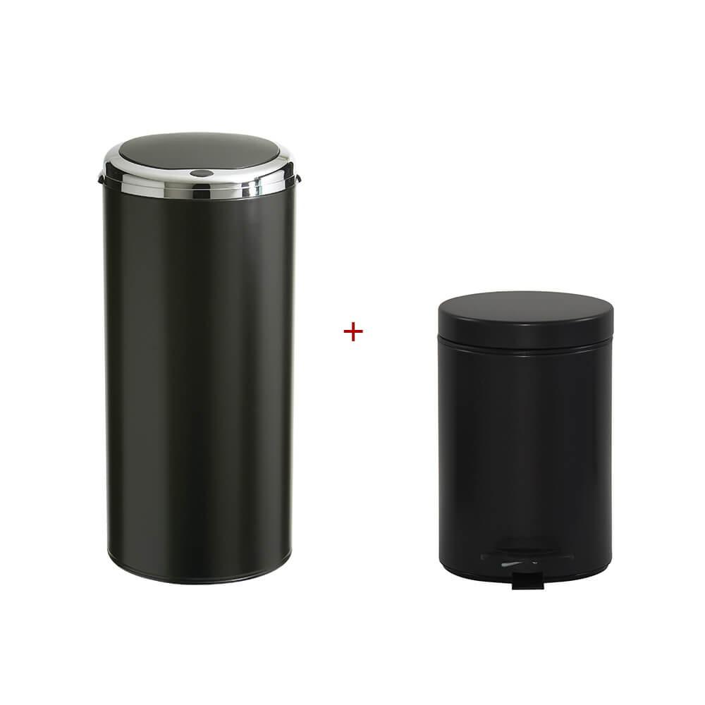 lot de 2 poubelles de cuisine et de salle de bains noir rossignol bricozor. Black Bedroom Furniture Sets. Home Design Ideas