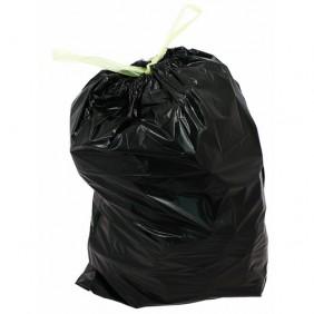 Sac poubelle avec lien coulissant - noir - 30 litres