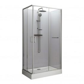 Cabine de douche rectangulaire - 100 x 80 portes coulissantes - Kara LEDA