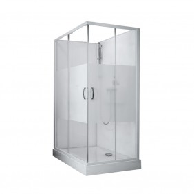 Cabine de douche izibox 2 - Porte coulissante - En angle - Rectangle LEDA
