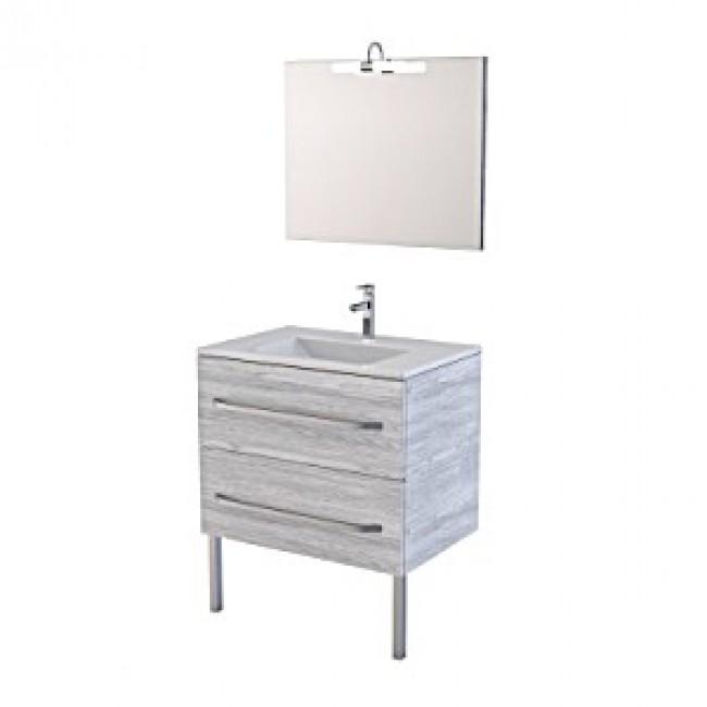 Meuble de salle de bains - blanc ou chêne - 75x50x85cm- Simply AURLANE