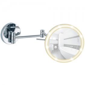 Miroir grossissant x5 pour salle de bain - fixation Power-Loc et LED WENKO