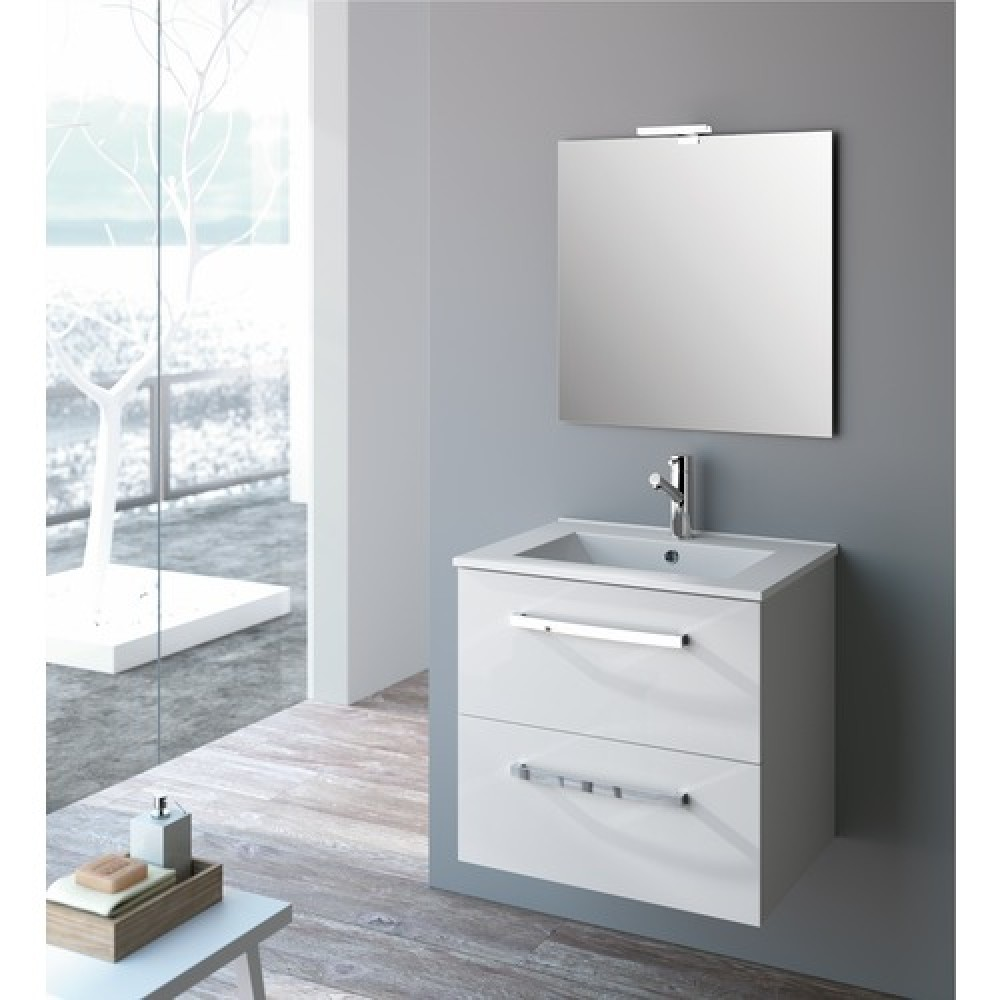 meuble de salle de bains blanc brillant studio kit comfort cygnus bath bricozor. Black Bedroom Furniture Sets. Home Design Ideas