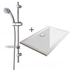 Lot Receveur en béton minéral + Kit de douche - différentes dimensions LEDA