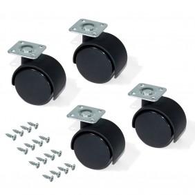 Kit de 4 roulettes pour caisson à tiroirs - plaque à visser EMUCA