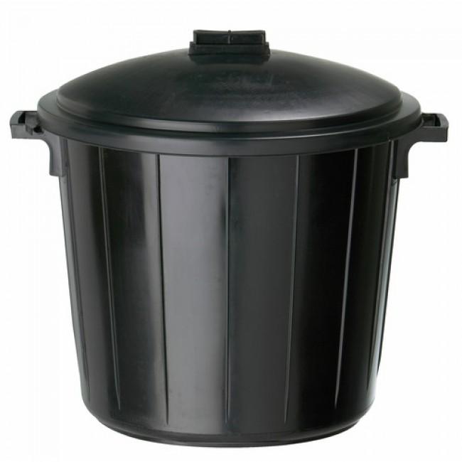 Poubelle plastique avec couvercle - 80 litres - Réglisse ROSSIGNOL