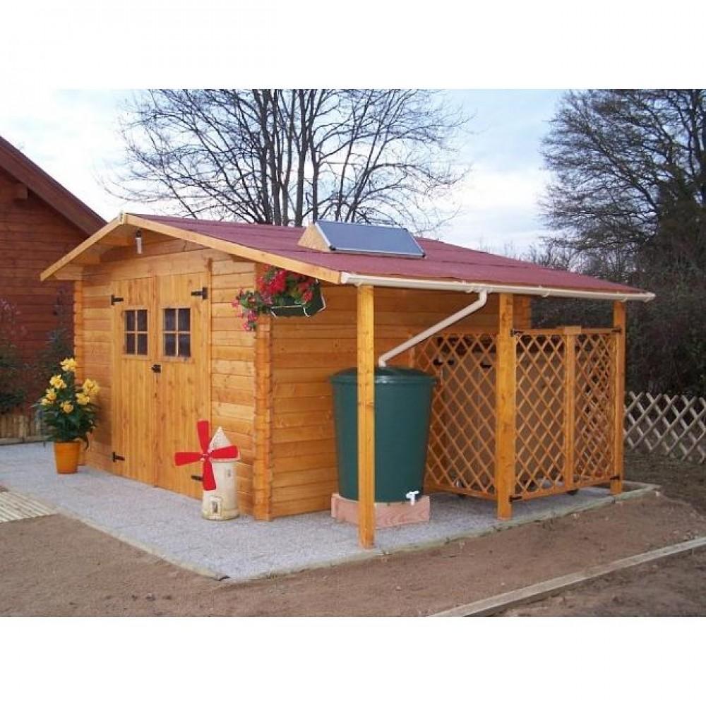 Abri de jardin Vendée 8,7m2 + plancher + 2 récupérateurs d\'eau + kit ...