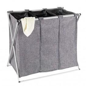 Panier à linge - Tissu polyester gris -Un, deux ou trois compartiments WENKO