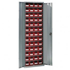 Armoire d'atelier métallique - 12 étagères - 52 bacs SCHAEFER