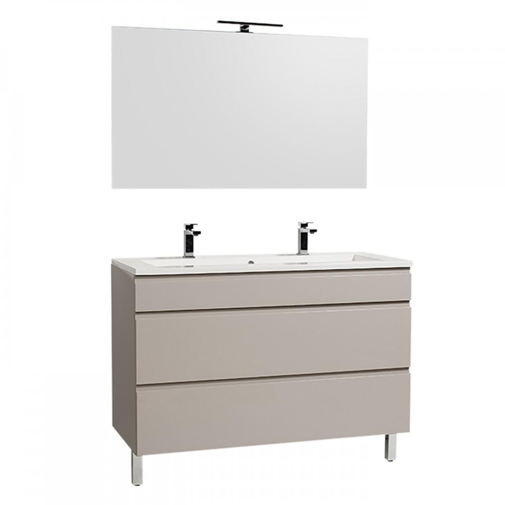 Miroir Salle De Bain 120 Cm meuble de salle de bains et miroir - adele - 120 cm - 2 finitions  bathdesign sur bricozor