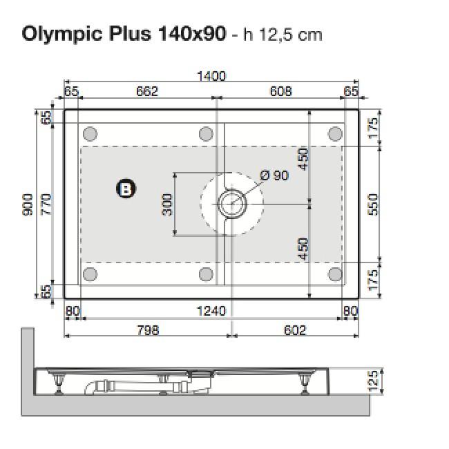 receveur de douche poser extra plat 140x90 cm olympic. Black Bedroom Furniture Sets. Home Design Ideas