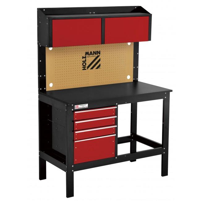 Etabli d'atelier avec tiroirs panneau perforé et placards - WT39 HOLZMANN