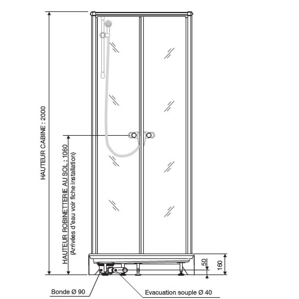 Cabine de douche Surf 4   80X80 cm   accès de face   portes