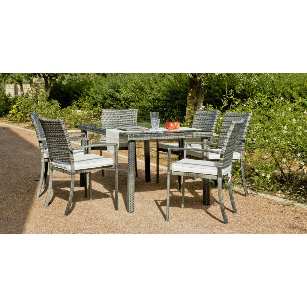table de jardin rimini 150 cm et 6 fauteuils avec coussins blanc indoor outdoor bricozor. Black Bedroom Furniture Sets. Home Design Ideas