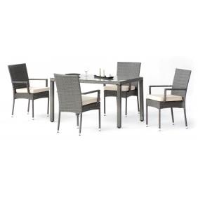 Table de jardin Mali : 1 table + 4 fauteuils + 4 coussins HEVEA