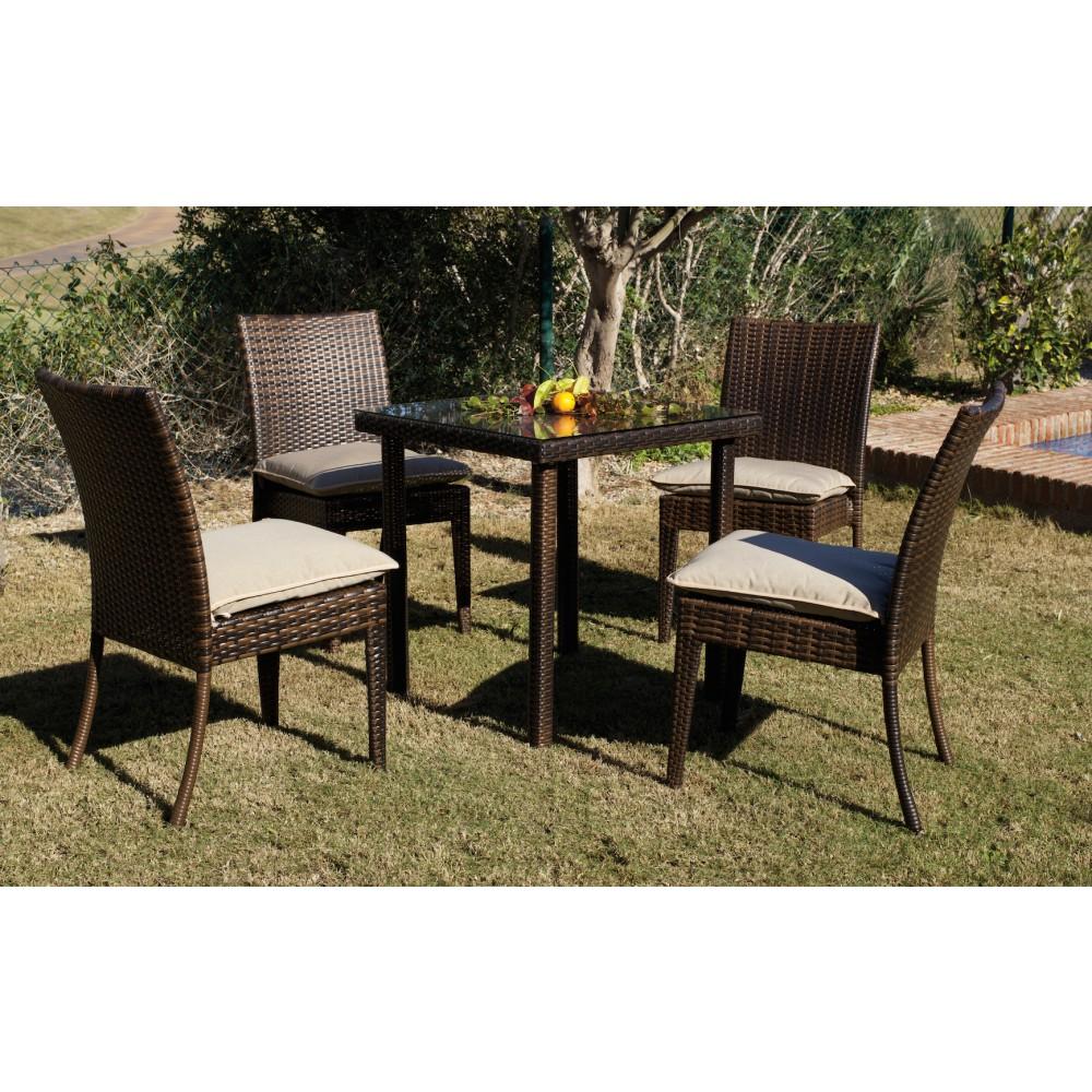 Table de jardin marzia 80 cm et 2 chaises avec coussins for Jardin 80
