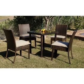 Table de jardin Marzia 80 cm et 2 chaises avec coussins beige INDOOR OUTDOOR