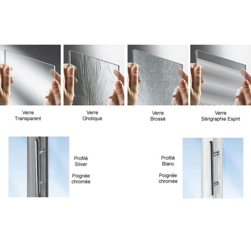 Porte coulissante 3 panneaux verre transparent lunes p for Porte de service isolante pas cher
