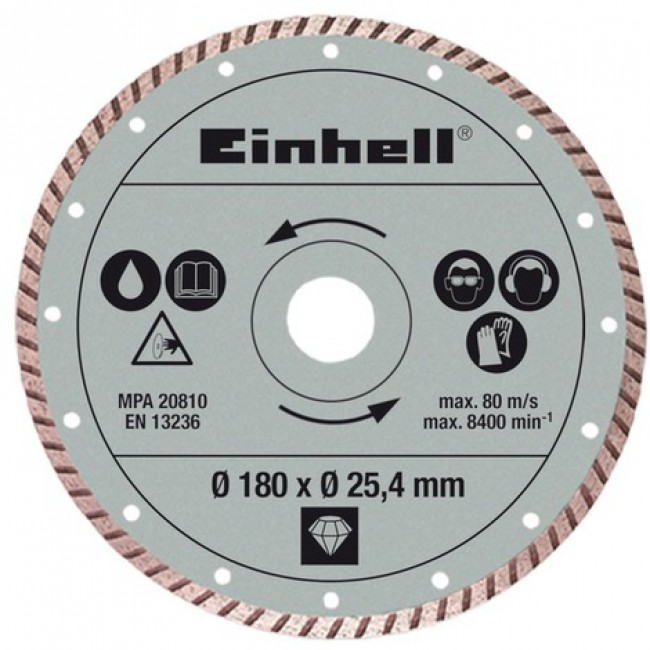 Lame diamanté turbo 180 mm pour coupe carrelage EINHELL
